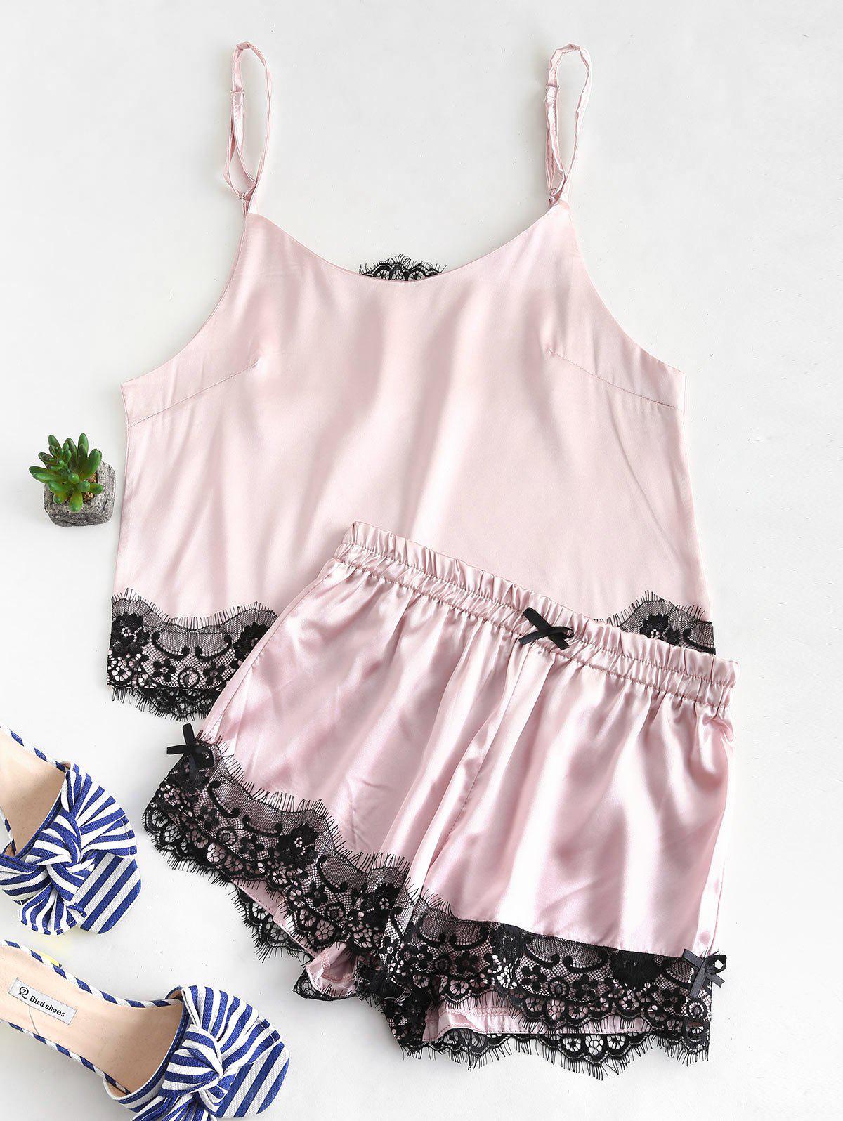 Satin Lace Insert Camisole and Shorts Pajama Set