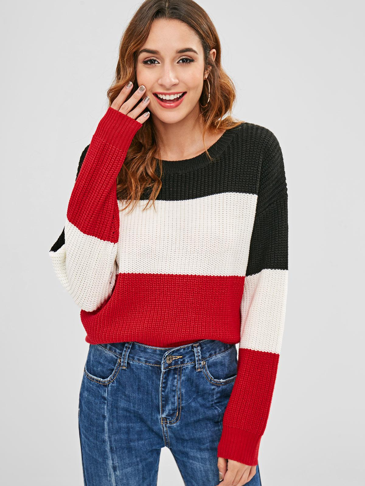 ZAFUL Color Block Striped Sweater