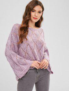 ZAFUL Heathered Loose Knit Sweater - الوستارية الأرجواني