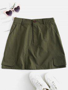 ZAFUL سهل خط تنورة مع جيوب - الجيش الأخضر S