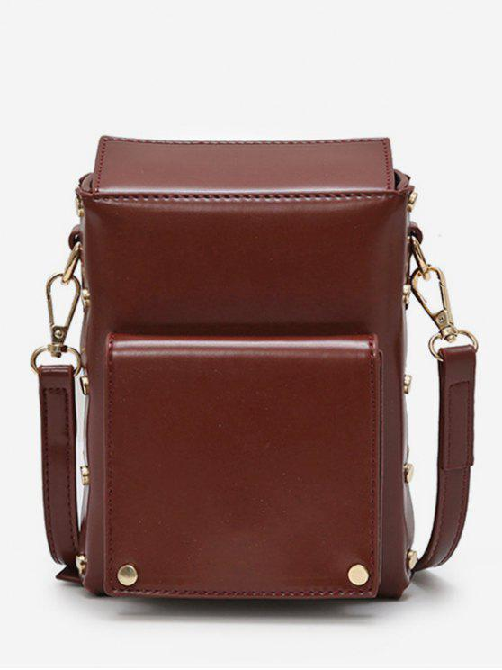 womens Rivet Solid Mini Crossbody Bag - COFFEE