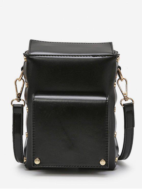 women Rivet Solid Mini Crossbody Bag - BLACK