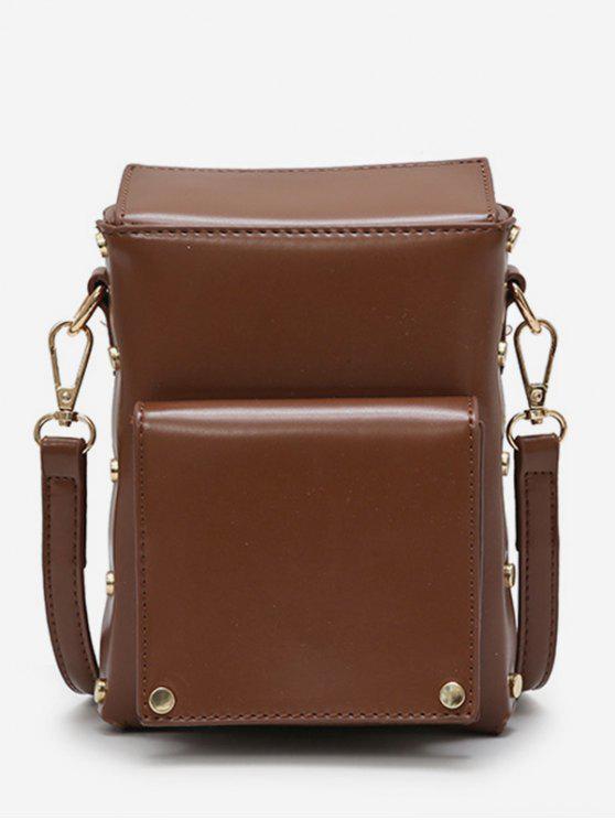 ladies Rivet Solid Mini Crossbody Bag - BROWN