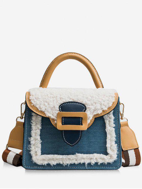 fashion Fluffy Color Block Tote Bag - BLUE