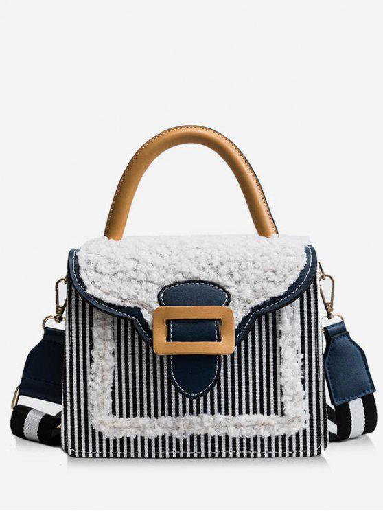 chic Fluffy Color Block Tote Bag - BLACK