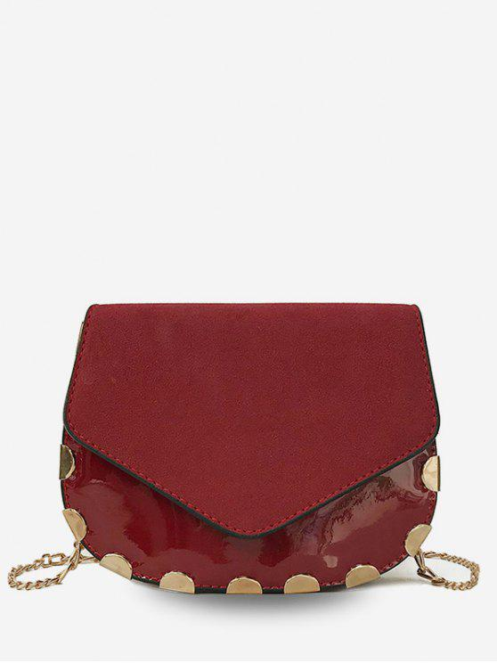 affordable Flap Chic Chain Crossbody Bag - RED WINE