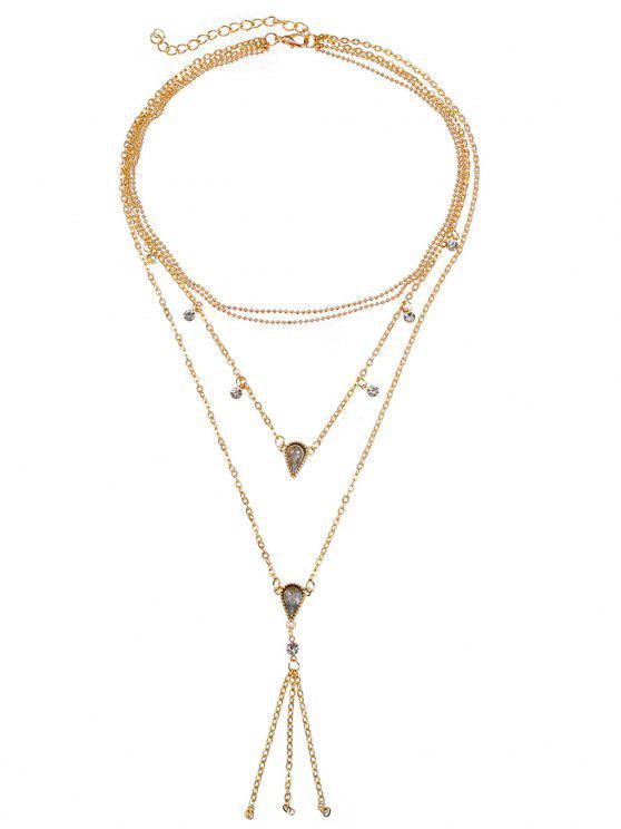 buy Rhinestone Multi Layers Fringe Necklace - GOLD