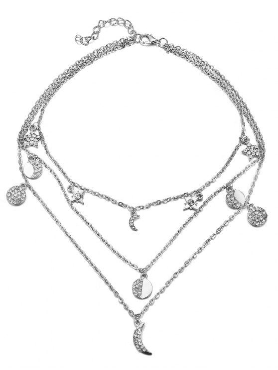 lady Vintage Multi Layers Moon Alloy Necklace - SILVER