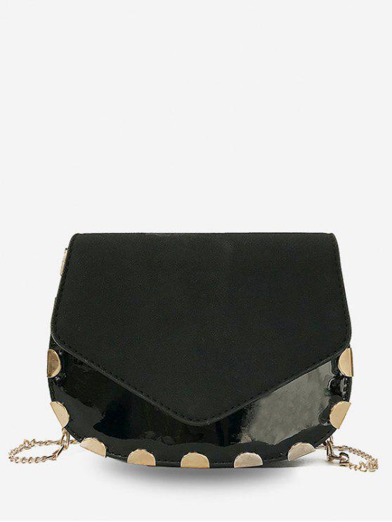 online Flap Chic Chain Crossbody Bag - BLACK