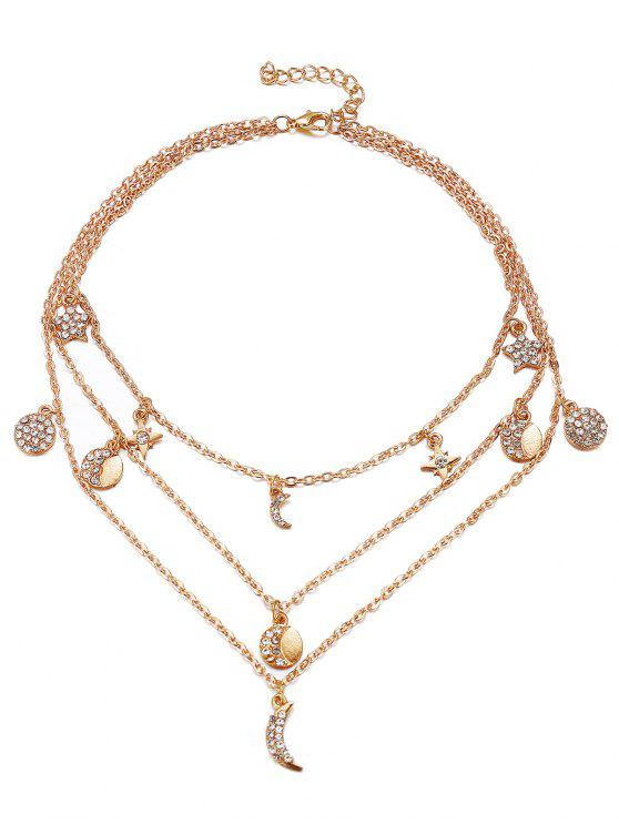 latest Vintage Multi Layers Moon Alloy Necklace - GOLD