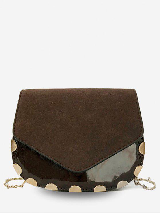 fashion Flap Chic Chain Crossbody Bag - COFFEE