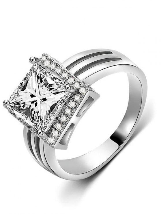 buy Rhinestone Geometric Shape Finger Ring - SILVER S