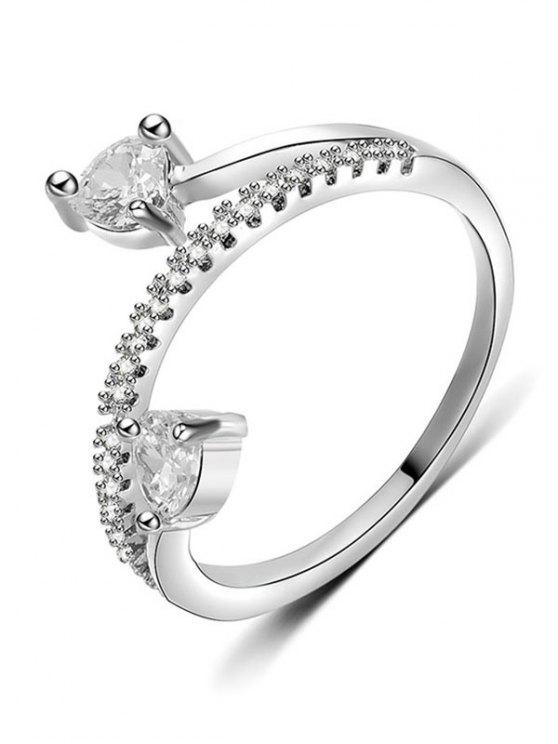 ladies Artificial Diamond Decorative Metal Finger Ring - SILVER M