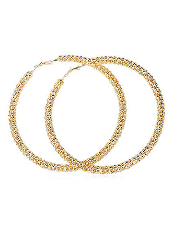 trendy Punk Oversized Alloy Round Earrings - GOLD
