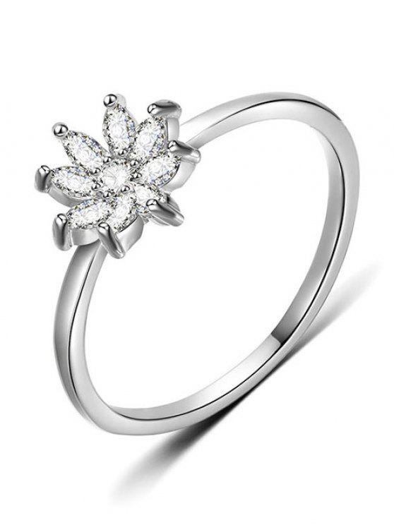 fashion Rhinestone Flower Designed Finger Ring - SILVER L