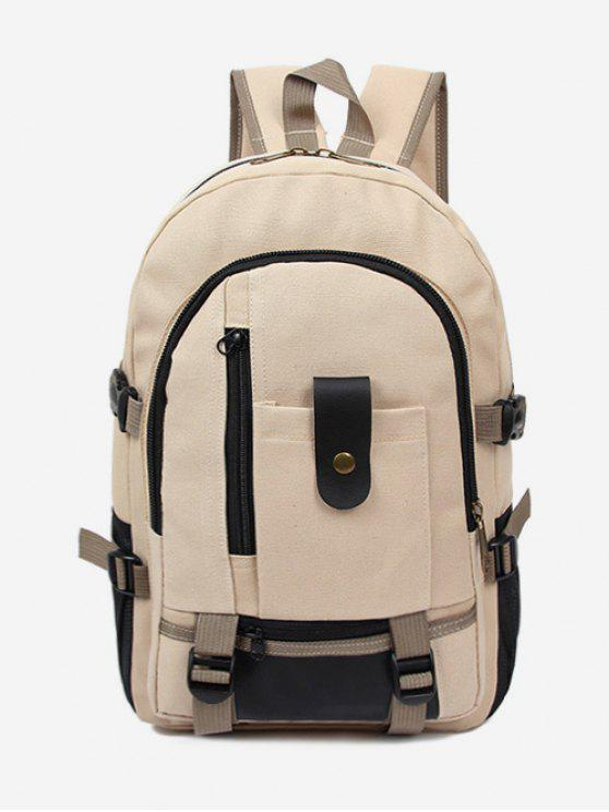 chic Canvas Color Block Travel Backpack - BEIGE