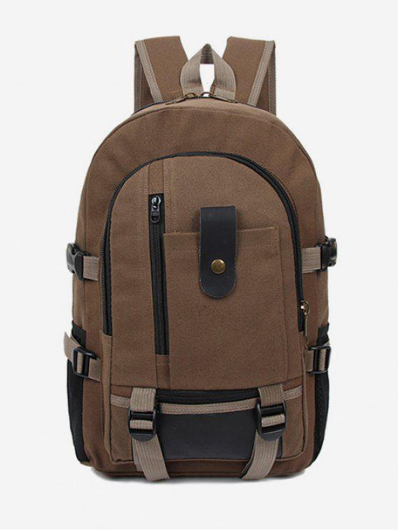 fancy Canvas Color Block Travel Backpack - BROWN