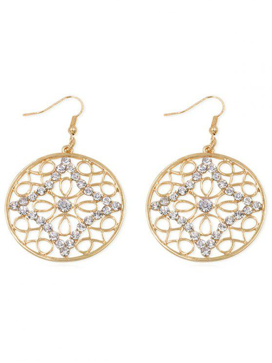 sale Rhinestone Inlaid Hollow Out Hook Earrings - GOLD