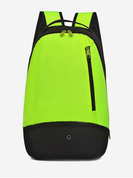 womens Zipper Color Block Travel Backpack - GREEN