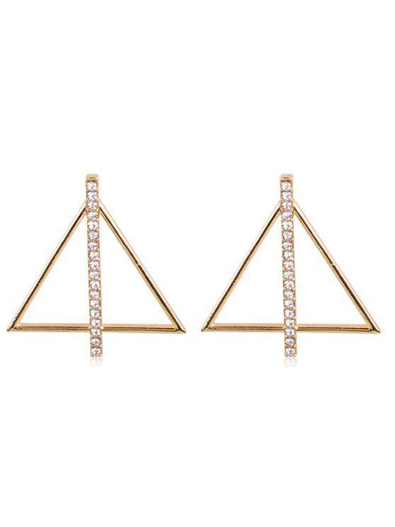women's Rhinestone Inlaid Triangle Alloy Earrings - GOLD