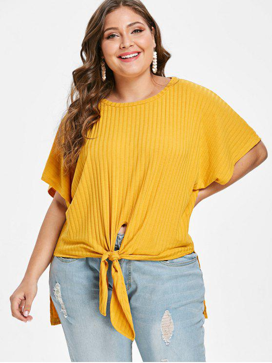 ZAFUL Plus Size Knotted High Low Tee - Amarillo Brillante 1X