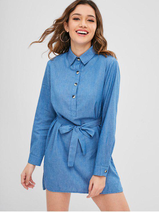 latest Chambray Belted Long Sleeve Shirt Dress - DENIM BLUE L