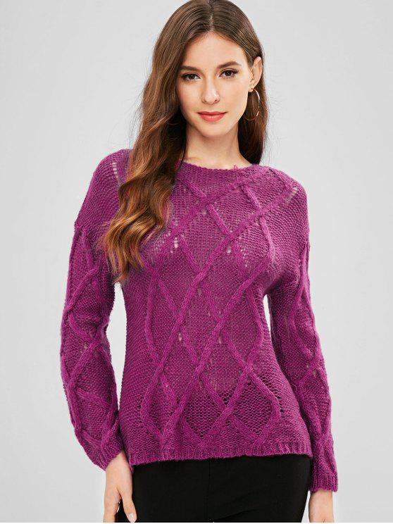 Cable Knit Lightweight Sweater PLUM VELVET