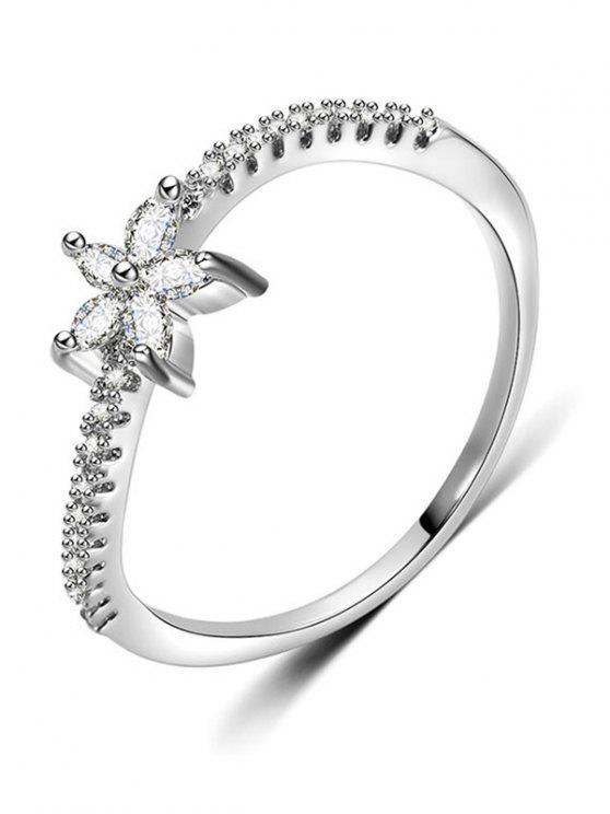 lady Artificial Diamond Floral Design Finger Ring - SILVER M