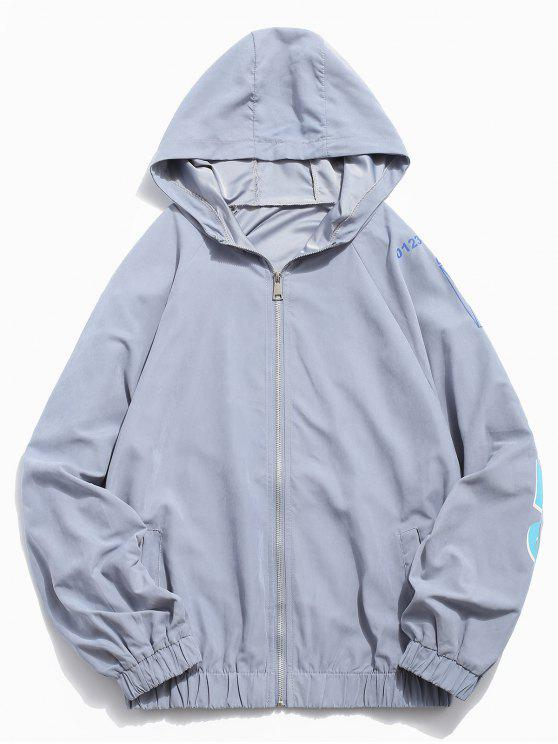 trendy Hem Elastic Graphic Jacket - PASTEL BLUE M