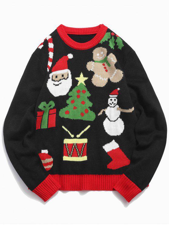 Weihnachtsthema Gedruckter Pullover - Schwarz 2XL