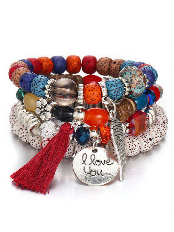 Ensemble de Bracelet Bohémien Perlé Aile - Multi-A