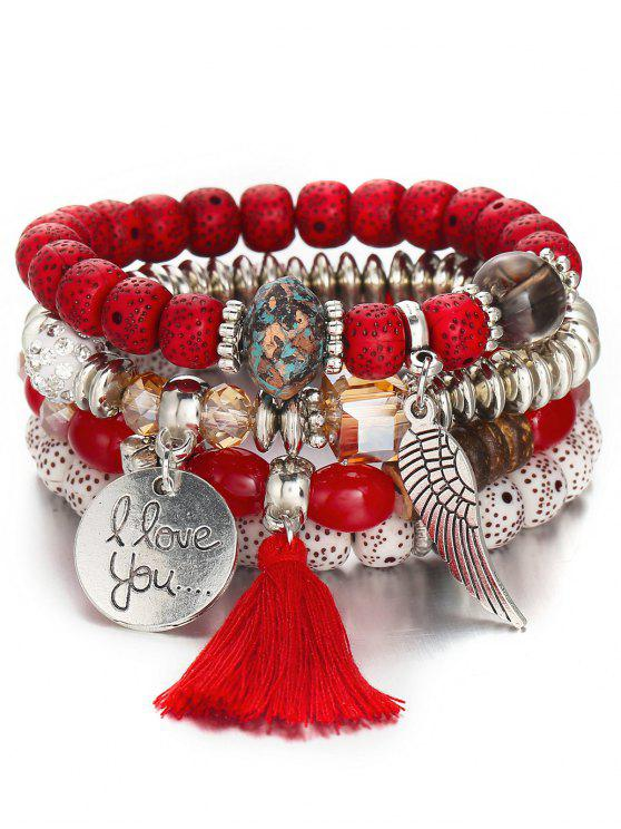 Ensemble de Bracelet Bohémien Perlé Aile - Rouge