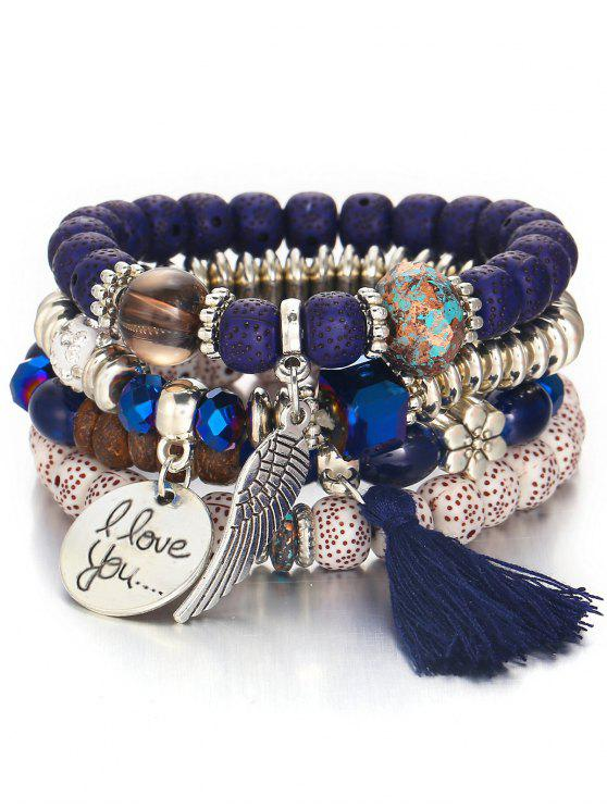 sale Bohemian Wing Beaded Bracelet Suit - NAVY BLUE