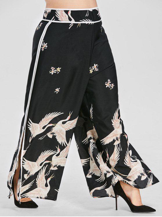 hot Crane Print Wide Leg Plus Size Pants - BLACK 1X