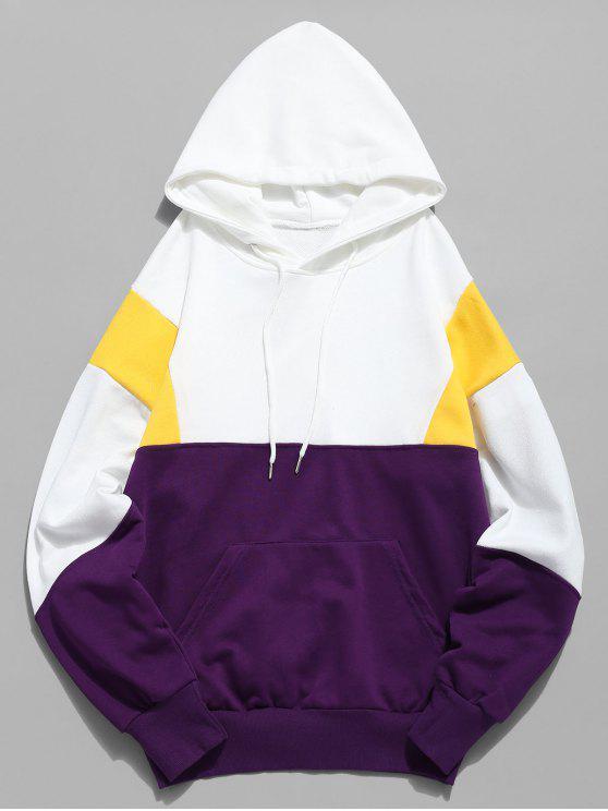 sale Color Block Pouch Pocket Hoodie - WHITE M