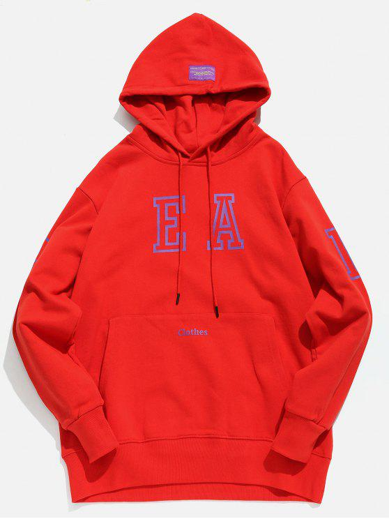 buy Candy Color Kangaroo Pocket Hoodie - LAVA RED L