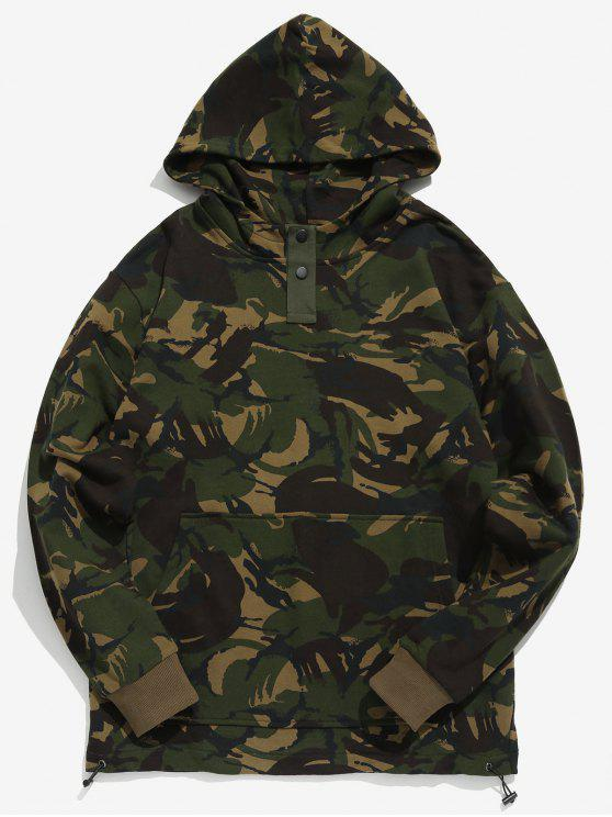 lady Button Embellished Camouflage Hoodie - ACU CAMOUFLAGE M