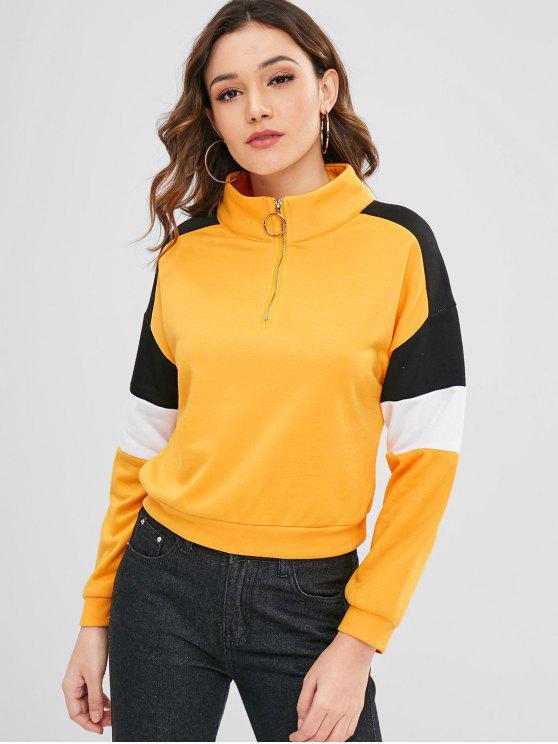 new ZAFUL Raglan Sleeve Terry Pullover Sweatshirt - BRIGHT YELLOW L