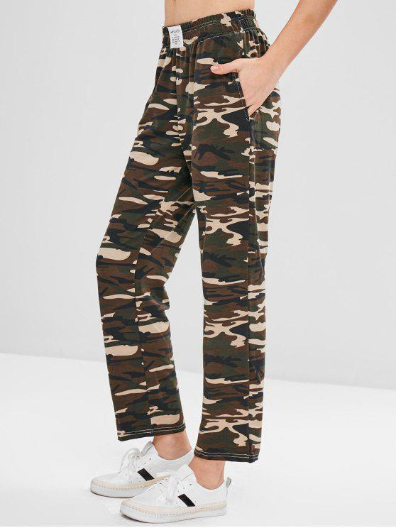 outfits ZAFUL Camo Print Jersey Wide Leg Pants - ACU CAMOUFLAGE L