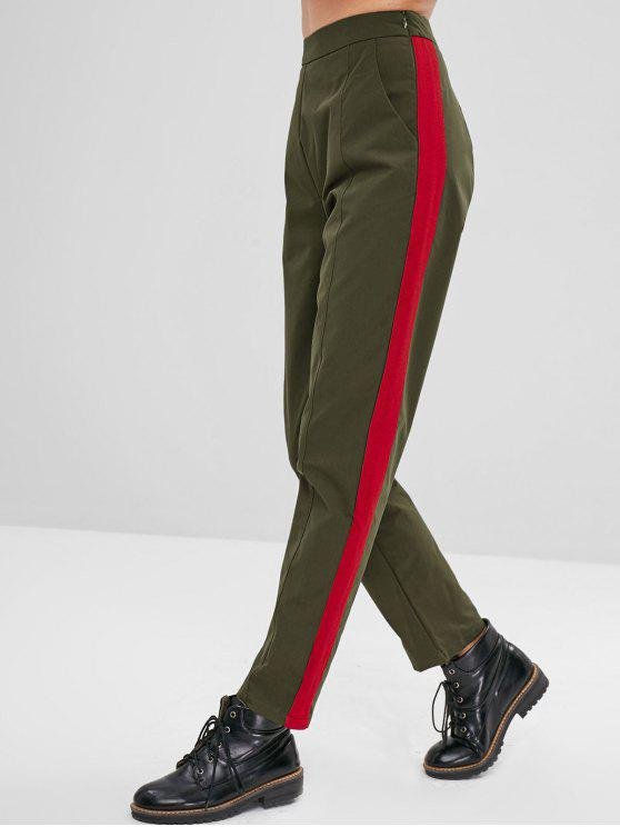 affordable ZAFUL High Waisted Tapered Pants - ARMY GREEN L