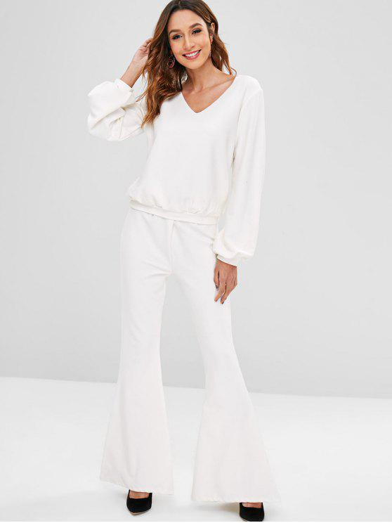 shops ZAFUL Ribbed Sweatshirt Flare Pants Co Ord Set - WHITE M