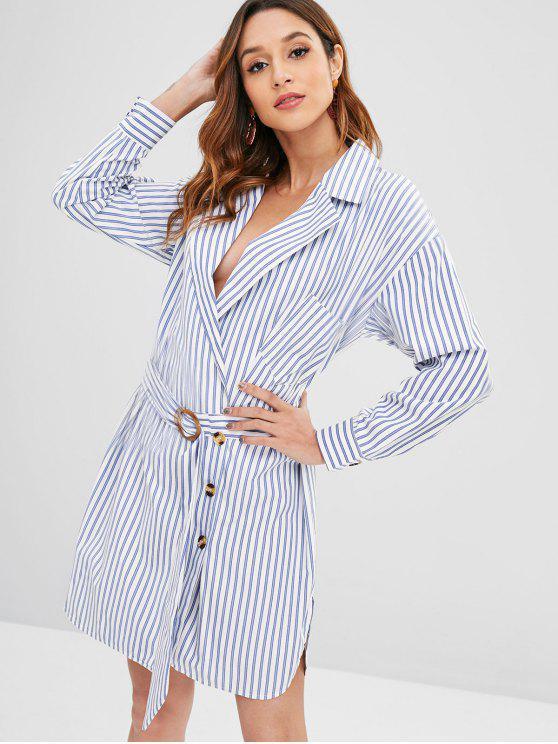 women Buttoned Striped Belted Blazer Dress - SKY BLUE XL