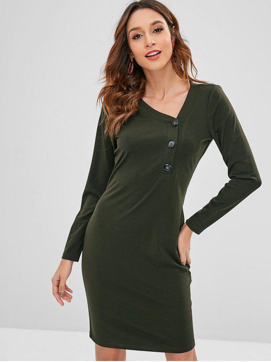 aa5b55b7 27% OFF] 2019 Skew Collar Sheath Long Sleeve Dress In DARK GREEN | ZAFUL