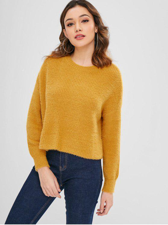 lady Drop Shoulder Pullover Plain Sweater - BEE YELLOW M