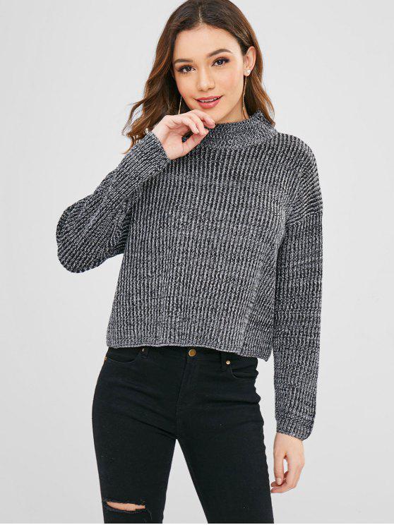 unique Mock Neck Loose Heather Sweater - BLACK L