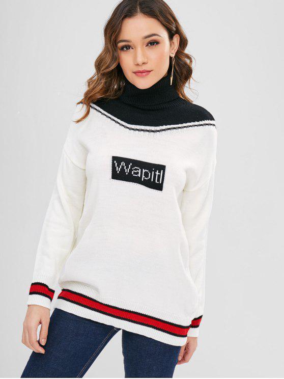 online Contrast Turtleneck Drop Shoulder Sweater - WHITE ONE SIZE