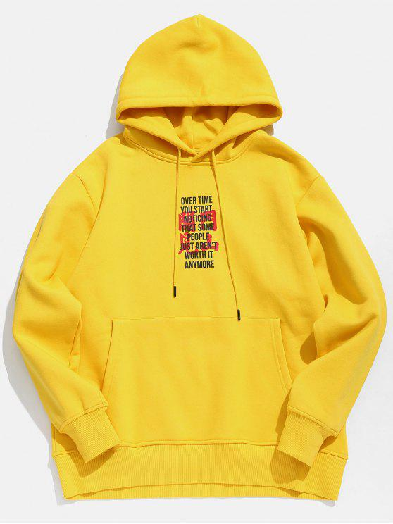 online Character Print Fleece Hoodie - GOLDEN BROWN XL