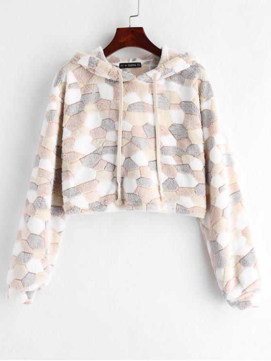 outfit ZAFUL Contrast Crop Faux Fur Hoodie - MULTI M