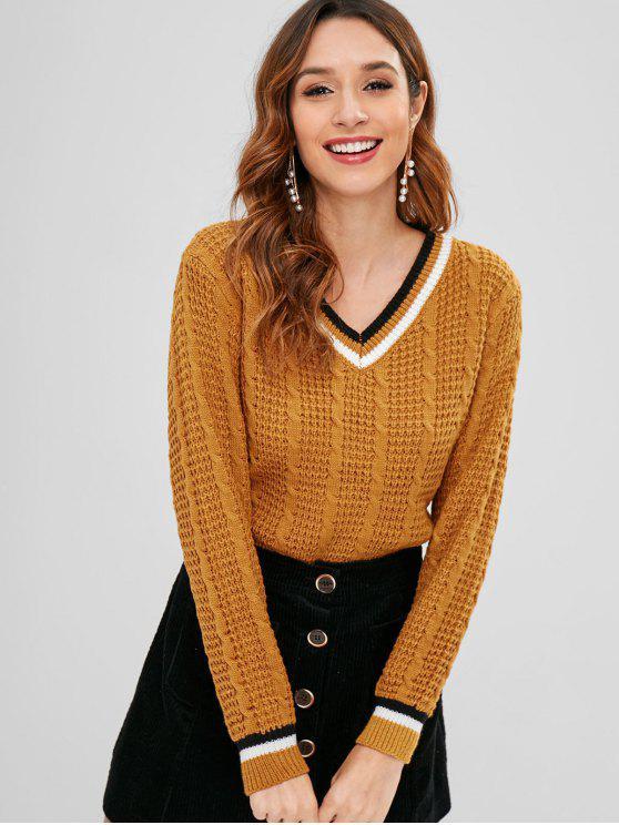 Risultati immagini per cable-knit-contrast-trim-sweater-p_592450.html