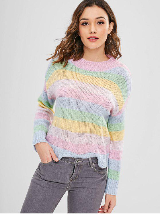 new ZAFUL Multicolor Striped Loose Sweater - MULTI M